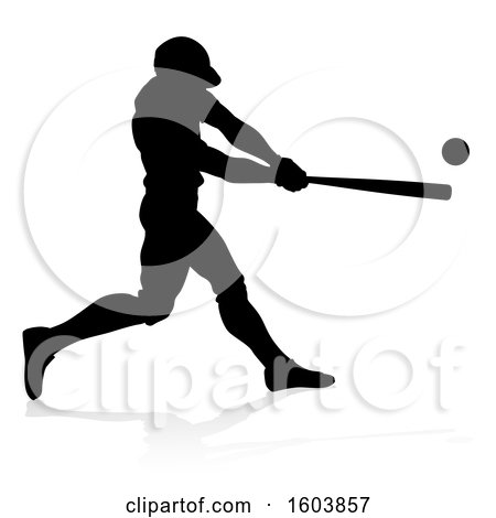 Clipart of a Black Silhouetted Baseball Player Batting, with a Reflection on a White Background - Royalty Free Vector Illustration by AtStockIllustration