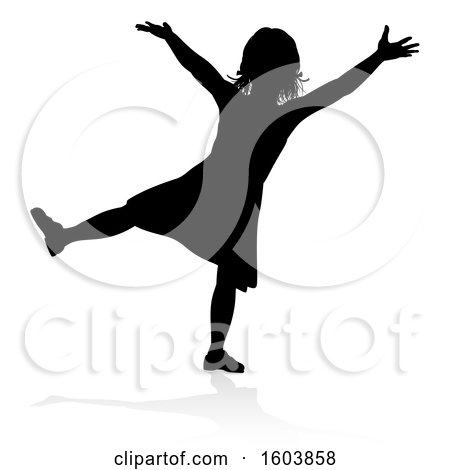 Clipart of a Silhouetted Girl, with a Reflection or Shadow, on a White Background - Royalty Free Vector Illustration by AtStockIllustration
