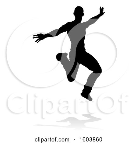 Clipart of a Silhouetted Male Dancer, with a Reflection or Shadow, on a White Background - Royalty Free Vector Illustration by AtStockIllustration