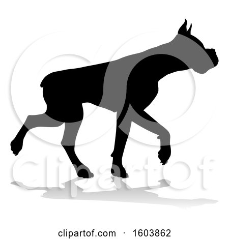 Clipart of a Silhouetted Boxer Dog, with a Reflection or Shadow, on a White Background - Royalty Free Vector Illustration by AtStockIllustration