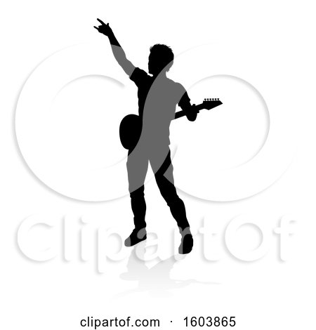 Clipart of a Silhouetted Male Guitarist, with a Reflection or Shadow, on a White Background - Royalty Free Vector Illustration by AtStockIllustration