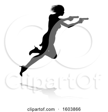 Clipart of a Silhouetted Femme Fatale Shooting, with a Reflection or Shadow, on a White Background - Royalty Free Vector Illustration by AtStockIllustration