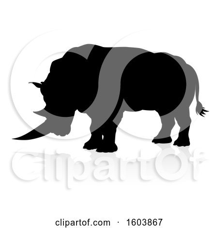 Clipart of a Silhouetted Rhino, with a Reflection or Shadow, on a White Background - Royalty Free Vector Illustration by AtStockIllustration