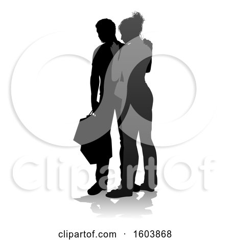 Clipart of a Silhouetted Couple Shopping, with a Reflection or Shadow, on a White Background - Royalty Free Vector Illustration by AtStockIllustration