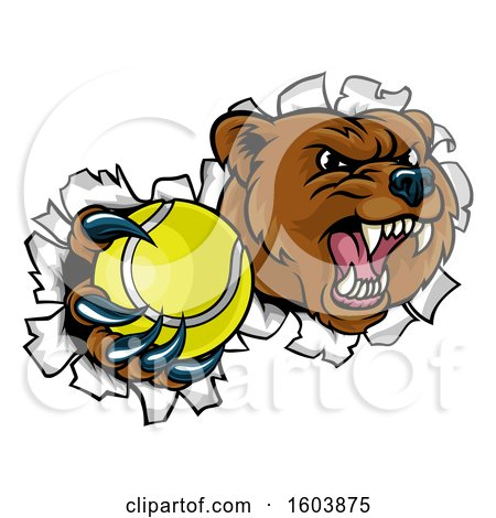 Clipart of a Bear Sports Mascot Breaking Through a Wall with a Tennis Ball in a Paw - Royalty Free Vector Illustration by AtStockIllustration