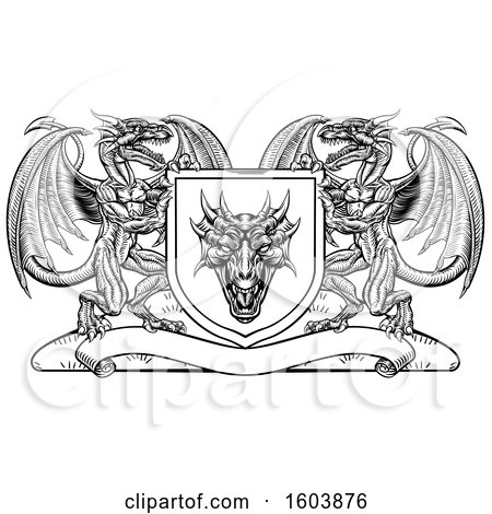 Clipart of a Black and White Heraldic Shield with Dragons - Royalty Free Vector Illustration by AtStockIllustration