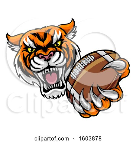 Clipart of a Vicious Tiger Sports Mascot Grabbing a Football - Royalty Free Vector Illustration by AtStockIllustration