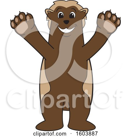 Clipart of a Wolverine School Mascot Character Welcoming - Royalty Free Vector Illustration by Toons4Biz