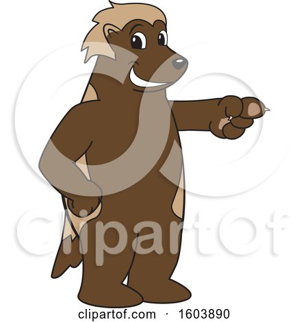 Clipart of a Wolverine School Mascot Character Pointing - Royalty Free Vector Illustration by Toons4Biz