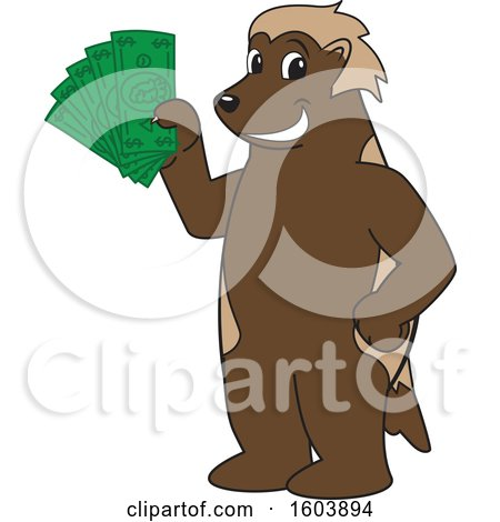 Clipart of a Wolverine School Mascot Character Holding Cash Money - Royalty Free Vector Illustration by Toons4Biz