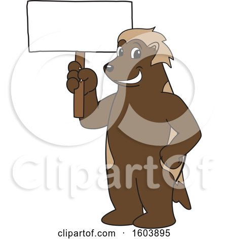 Clipart of a Wolverine School Mascot Character Holding a Blank Sign - Royalty Free Vector Illustration by Toons4Biz