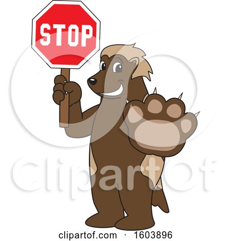 Clipart of a Wolverine School Mascot Character Holding a Stop Sign - Royalty Free Vector Illustration by Toons4Biz