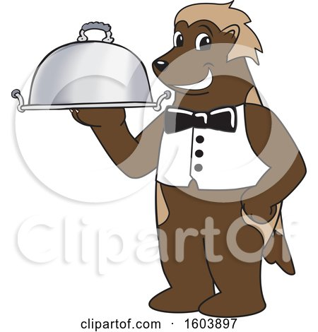 Clipart of a Wolverine School Mascot Character Serving a Platter - Royalty Free Vector Illustration by Toons4Biz