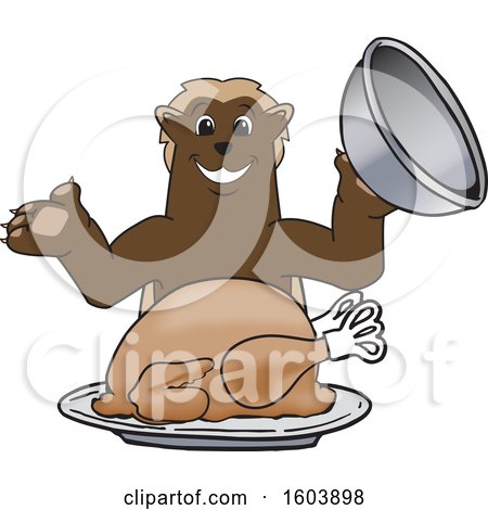 Clipart of a Wolverine School Mascot Character Serving a Thanksgiving Turkey - Royalty Free Vector Illustration by Toons4Biz