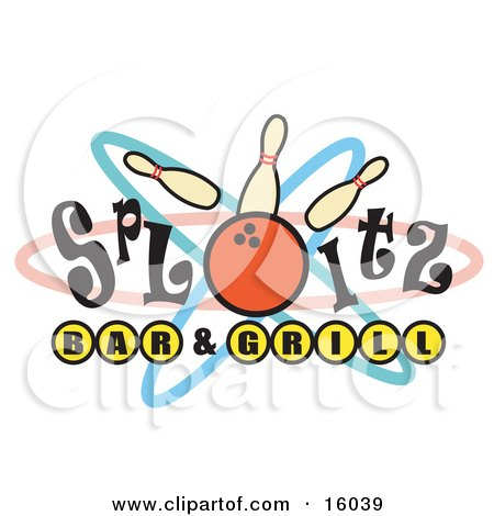 Bowling Ball Hitting Pins On A Sign Clipart Illustration by Andy Nortnik