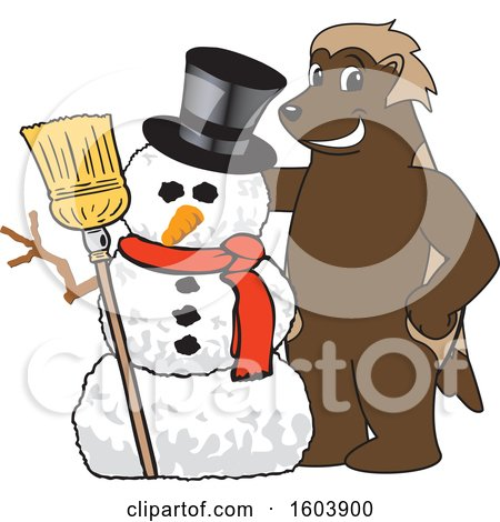 Clipart of a Wolverine School Mascot Character with a Christmas Snowman - Royalty Free Vector Illustration by Toons4Biz