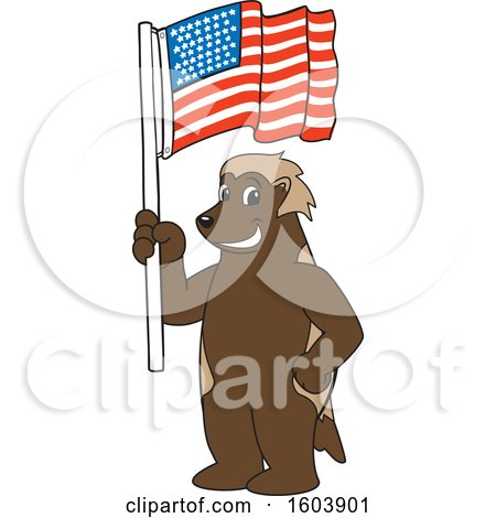 Clipart of a Wolverine School Mascot Character Holding an American Flag - Royalty Free Vector Illustration by Toons4Biz