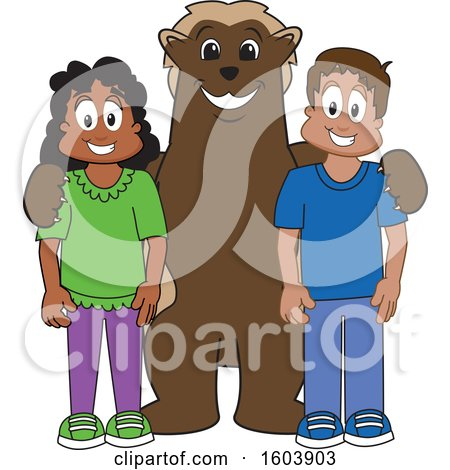 Clipart of a Wolverine School Mascot Character with Students - Royalty Free Vector Illustration by Toons4Biz