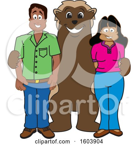 Clipart of a Wolverine School Mascot Character with Parents - Royalty Free Vector Illustration by Toons4Biz