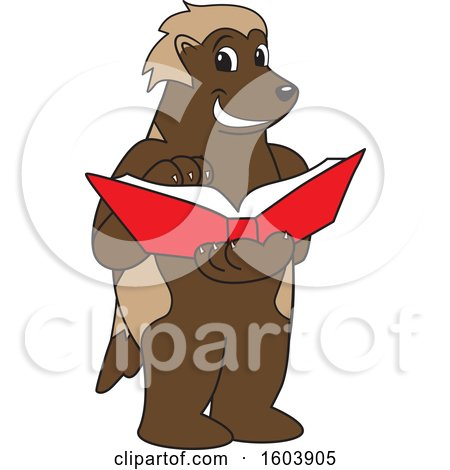 Clipart of a Wolverine School Mascot Character Reading a Book - Royalty Free Vector Illustration by Toons4Biz