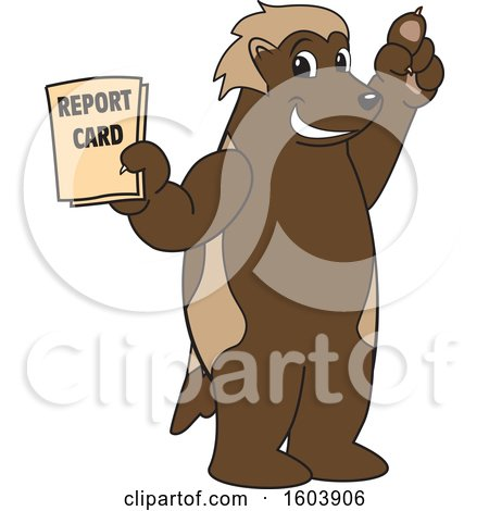 Clipart of a Wolverine School Mascot Character Holding a Report Card - Royalty Free Vector Illustration by Toons4Biz