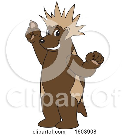 Clipart of a Wolverine School Mascot Character with a Mohawk - Royalty Free Vector Illustration by Toons4Biz
