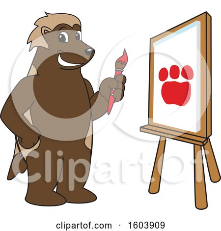 Clipart of a Wolverine School Mascot Character Painting - Royalty Free Vector Illustration by Toons4Biz