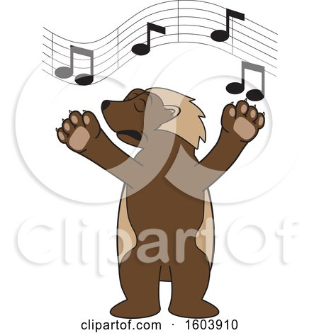 Clipart of a Wolverine School Mascot Character Singing - Royalty Free Vector Illustration by Toons4Biz