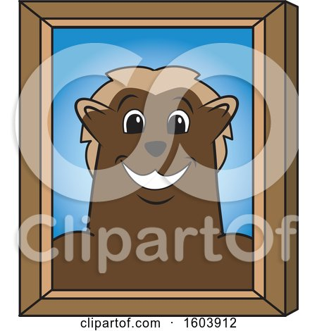 Clipart of a Wolverine School Mascot Character Portrait - Royalty Free Vector Illustration by Toons4Biz