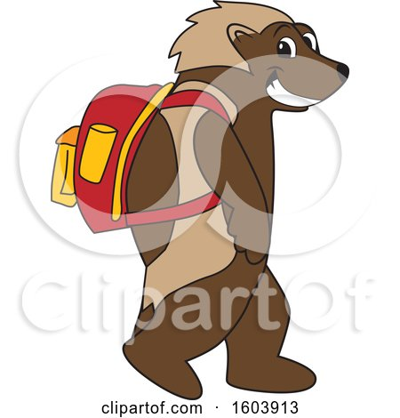 Clipart of a Wolverine School Mascot Character Wearing a Backpack - Royalty Free Vector Illustration by Toons4Biz
