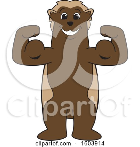 Clipart of a Wolverine School Mascot Character Flexing His Muscles - Royalty Free Vector Illustration by Toons4Biz