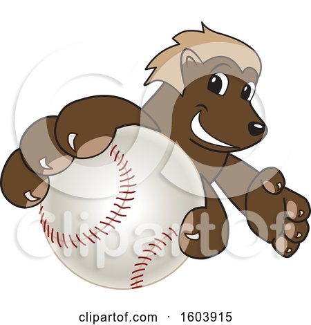 Clipart of a Wolverine School Mascot Character Grabbing a Baseball - Royalty Free Vector Illustration by Toons4Biz