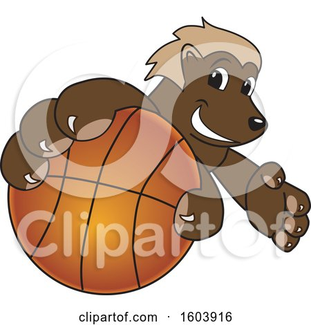 Clipart of a Wolverine School Mascot Character Grabbing a Basketball - Royalty Free Vector Illustration by Toons4Biz