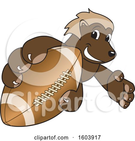Clipart of a Wolverine School Mascot Character Grabbing a Football - Royalty Free Vector Illustration by Toons4Biz