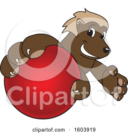 Clipart of a Wolverine School Mascot Character Grabbing a Cricket Ball - Royalty Free Vector Illustration by Toons4Biz