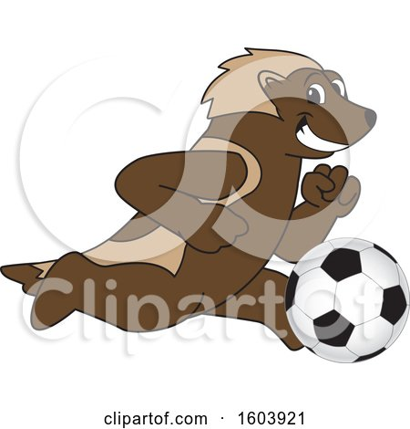 Clipart of a Wolverine School Mascot Character Playing Soccer - Royalty Free Vector Illustration by Toons4Biz