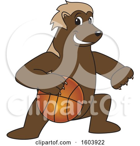 Clipart of a Wolverine School Mascot Character Dribbling a Basketball - Royalty Free Vector Illustration by Toons4Biz