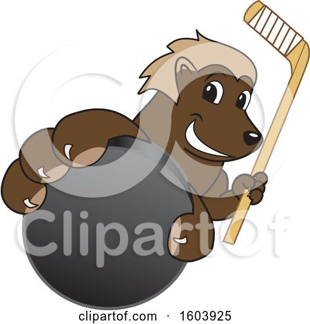 Clipart of a Wolverine School Mascot Character Holding a Hockey Puck and Stick - Royalty Free Vector Illustration by Toons4Biz