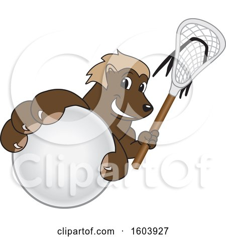 Clipart of a Wolverine School Mascot Character Holding a Lacrosse Stick and Ball - Royalty Free Vector Illustration by Toons4Biz