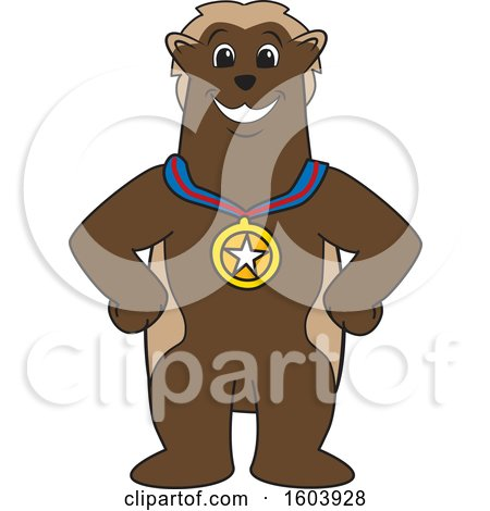 Clipart of a Wolverine School Mascot Character Wearing a Sports Medal - Royalty Free Vector Illustration by Toons4Biz