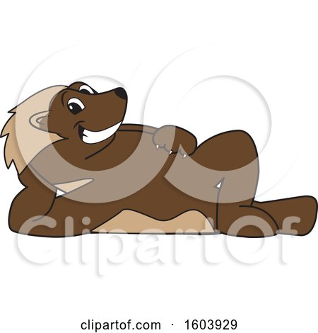 Clipart of a Wolverine School Mascot Character Relaxing - Royalty Free Vector Illustration by Toons4Biz