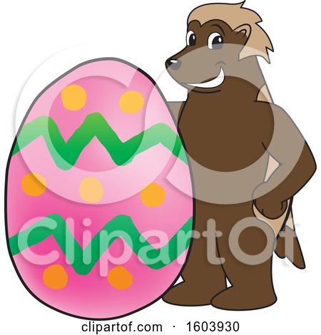 Clipart of a Wolverine School Mascot Character with an Easter Egg - Royalty Free Vector Illustration by Toons4Biz