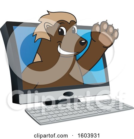 Clipart of a Wolverine School Mascot Character Emerging from a Computer Screen - Royalty Free Vector Illustration by Toons4Biz
