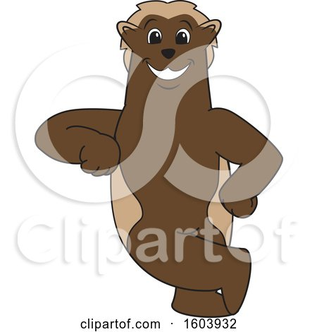 Clipart of a Wolverine School Mascot Character Leaning - Royalty Free Vector Illustration by Toons4Biz