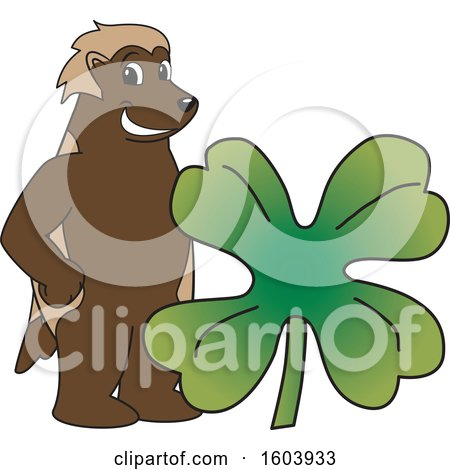 Clipart of a Wolverine School Mascot Character with a St Patricks Day Clover - Royalty Free Vector Illustration by Toons4Biz