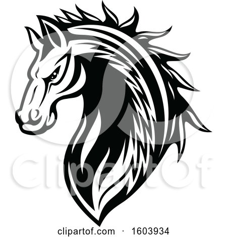 Clipart of a Black and White Tough Stallion Horse - Royalty Free Vector Illustration by Vector Tradition SM