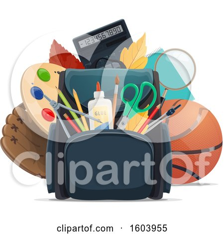 Clipart of a Backpack and School Supplies - Royalty Free Vector Illustration by Vector Tradition SM