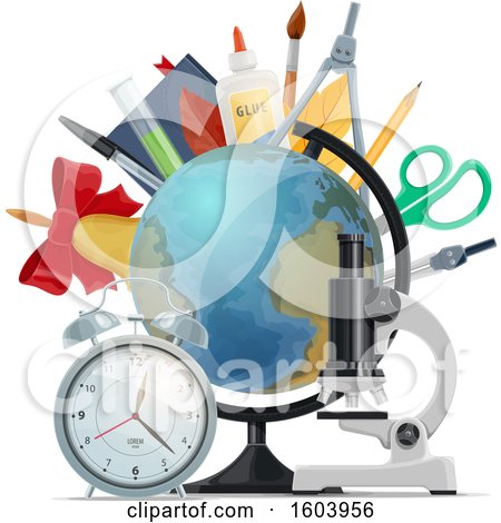 Clipart of a Desk Globe and School Supplies - Royalty Free Vector Illustration by Vector Tradition SM