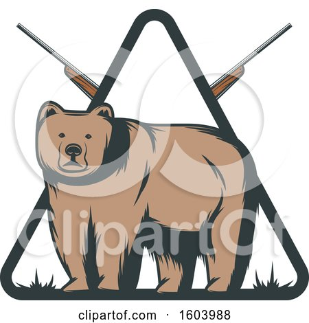 Clipart of a Bear and Hunting Rifle Diamond Design - Royalty Free Vector Illustration by Vector Tradition SM