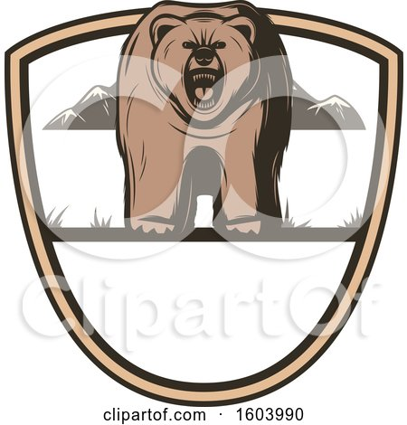 Clipart of a Bear and Shield Design - Royalty Free Vector Illustration by Vector Tradition SM